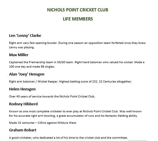 Photo Gallery | Nichols Point Cricket Club